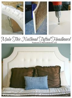 How to make this nailhead tufted headboard, #tutorial #bedroom #DIY featured on Remodelaholic.com