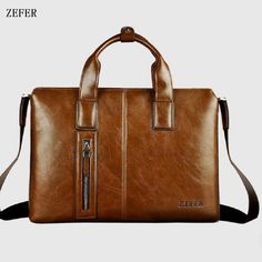 Sell hot Leather men Briefcase The new wholesale ZEFER Handbags man cross  bag business computer briefcase inclined shoulder bag efa6a6b2a1ae8