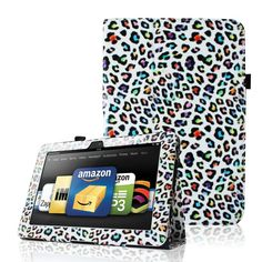 #Kindle Fire 8.9 Cover Case Rainbow Leopard