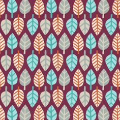 Festive Forest Leaves Burgundy Camelot  by spiceberrycottage, $6.00