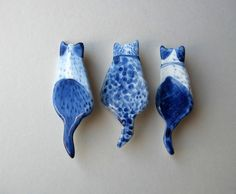 Cat  Brooch  Handpainted Delft blue porcelain by HarrietDamave, $37.00