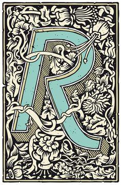 r, lettering, illustration,