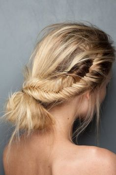 Fishtail braid twisted into a bun.