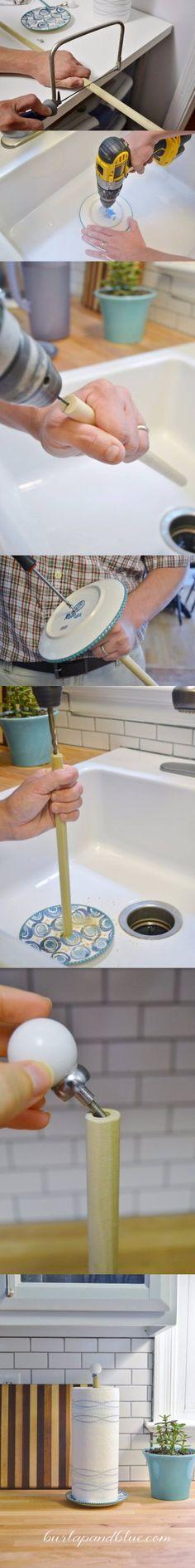 burlapandblue.com - DIY Paper Towel Holder