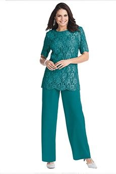 Pant Suits Jewel Ankle-length Chiffon Lace Mother of the Bride Dress