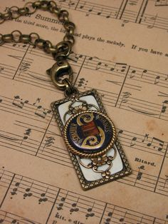 Piano Key Jewelry - Upcycled Piano Related Finds into Stunning Piano Themed Brass Necklace.