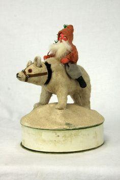 Antique German Santa Riding a Nodding Polar Bear Candy Container  ca1910