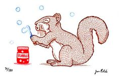 Squirrel and Bubbles Limited Edition Gocco by MisNopalesArt. , via Etsy.