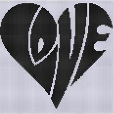 Love Heart Cross Stitch Pattern