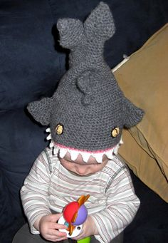 Free crochet baby shark hat. This is too funny!