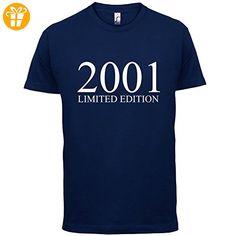 2001 Limierte Auflage / Limited Edition - 16. Geburtstag - Herren T-Shirt - Navy - M (*Partner-Link)
