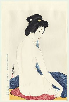 Artist: Goyo Hashiguchi Title: Woman After a Bath Date: Showa era posthumous edition Medium: Japanese Woodblock Print Size: x inches Publisher: Tanseisha Japan Painting, Illustration Art, Illustrations, Art Japonais, Japanese Prints, Japan Art, Gravure, Print Artist, Woodblock Print