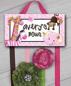 Love this Pink Jungle Personalized Hair Bow Holder on #zulily! #zulilyfinds