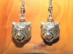 Tiger Earrings.  Tigers.  Detroit Tigers Earrings.  Surgical Steel wires.    100TE by NammersCrafts on Etsy