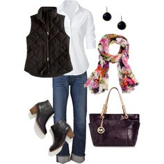 Love everything: black vest, boots & earrings; white shirt, floral scarf, purple purse; by vweldon on Polyvore