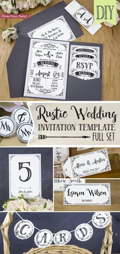 Rustic Wedding Invitations Template, inexpensive wedding invitations DIY Wedding Invitations- Press Print Party! #weddings Elegant, simple, vintage, cheap, boho wedding invitation, printable, country wedding, black and white, classic, romantic, lace, callligraphy, formal, creative.