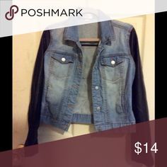 Jean jacket with faux sleeves Jean jacket with faux leather sleeves Love Fire von maur Jackets & Coats Jean Jackets
