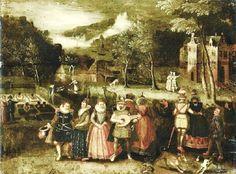 Louis de Caullery (Dutch-Flemish artist, 1555-1622) attr Promenading in a Parkland Setting