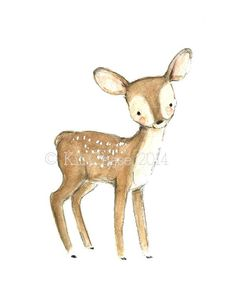 Woodland nursery -- Children's Art FAWN Archival Print by trafalgarssquare on Etsy, $10.00