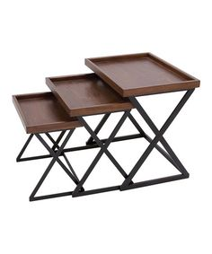 Loving this Iron & Wood Nesting Table Set on #zulily! #zulilyfinds