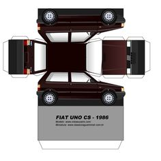 Paper Model Car, Paper Car, Paper Models, Fiat Uno, Cardboard Toys, Paper Toys, Bugatti Veyron, Paper Doll House, Cars Series