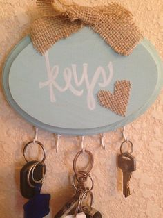 Handmade Key Holder Plaque, Aqua, Oval, Burlap Bow On Top, Shabby Chic, Rustic…