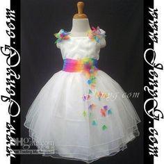 Wholesale - FlowerGirls/Pageant Dress, Rainbow Sash U67 NEW 5-6T