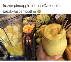 Frozen pineapple fresh oj epic break fast smoothie popular memes on the site ifunny co breakfastsmoothie 25 heart healthy recipes Yummy Drinks, Healthy Drinks, Healthy Snacks, Yummy Food, Healthy Recipes, Tasty, Fruit Smoothie Recipes, Easy Smoothies, Breakfast Smoothies