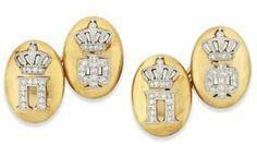 A Pair of Royal Presentation Diamond-set Cufflinks | Antique Jewellery