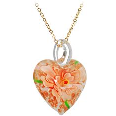 Peach Shimmer Flowering Heart Pendant Necklace | Body Candy Body Jewelry