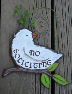 White Turtle Dove  No Soliciting Sign  by TheBirchTurtleDove, $29.99