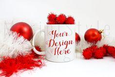 Coffee Mug Mockup Christmas Styled Stock by MariniStyleDesigns