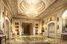 lobby with luxury decor model max obj fbx mtl 1