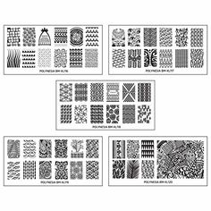 Bundle Monster 5pc Polynesian Themed Nail Art Design Rectangular XL Stamping Plates-Polynesia Tribal
