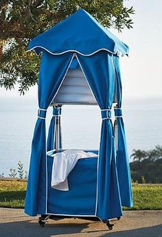 The Collapsible Towel Valet gives your guests the convenience of resort towel service and makes your pool parties easier for you.