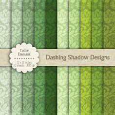 "Tudor Damask in Green Shades - 12 x 12"" Digital Scrapbook Paper Pack…"