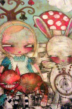 Alice in Wonderland Whimsical Gothic Art Print - Just found this artist and love her!