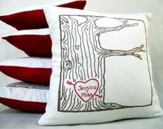 custom heart -- tree print pillow cover -- personalized with your names or initials, gift for her, gift for him
