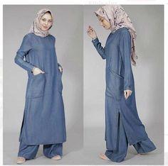Muslim clothing denim abaya dubai kaftan loose fit jalabiya with pant Abaya Fashion, Modest Fashion, Fashion Clothes, Fashion Dresses, Casual Clothes, Maxi Dresses, Cotton Dresses, Muslim Women Fashion, Islamic Fashion