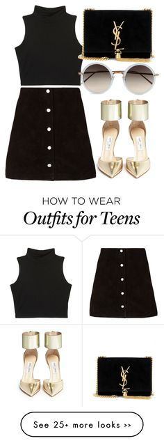 """""""Untitled #2729"""" by glitter-the-world on Polyvore featuring Jimmy Choo, Yves Saint Laurent and Linda Farrow"""