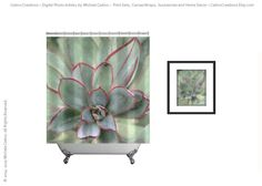 Shower Curtain Sedum Sage Green Abstract Nature by CatinoCreations  -- Beautiful products like this can be custom made for you by our members at http://DigiColorCreations.com.  -- Join DigiColorCreations.com today and make custom-designed items for your Etsy shop!