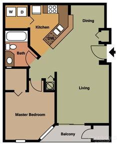 apartment floor plans The District The District Apartments - Clearwater, FL 33759 Small House Floor Plans, Cottage Floor Plans, Cabin Floor Plans, Cottage Plan, Cottage House, Tiny House Cabin, Tiny House Living, Tiny Houses, Apartment Floor Plans
