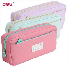 Cute School Pencil Case For Girls Large Capacity Canvas Pencil Bags Multifunction Pencase Deli 31741 Storage Manager Stationery