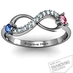 Double Stone Infinity Accent Ring. Anniversary Present.
