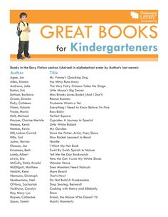 Great Books for Kindergarteners www.delawarelibrary.org