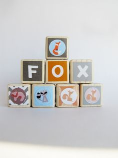 Fox nursery decor. Wood baby blocks.  #fisherprice #pinparty.