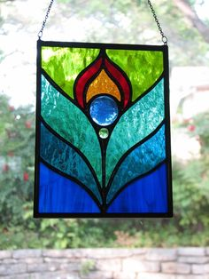 ... | Peacock Feather Stained Glass Suncatcher by BrightMoonDesigns♥♥