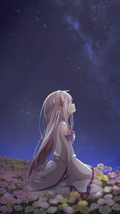 anime girl iphone wallpaper nacht mädchen mit blonden haaren schaut zum himmer blumen