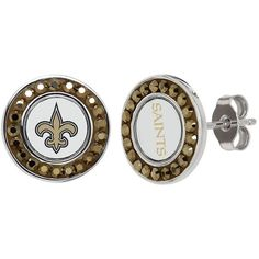 New Orleans Saints Crystal Team Logo Stud Earrings (190 BRL) ❤ liked on Polyvore featuring jewelry, earrings, yellow, yellow stud earrings, crystal jewelry, crystal earrings, yellow crystal earrings and crystal stone jewelry