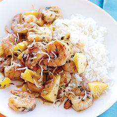 Spicy Mango Shrimp - Sweet chunks of mango balance the heat from red chile flakes in this spicy mango shrimp recipe.  Serve with hot steamed jasmine rice.